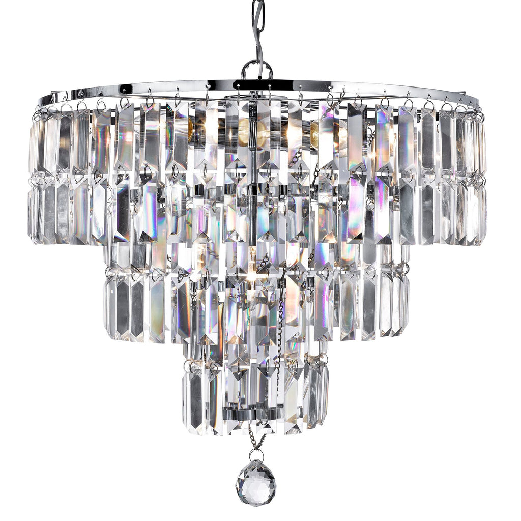 Searchlight 1375-5CC Empire 5 Light Chrome Chandelier With Bevelled Crystal Drops