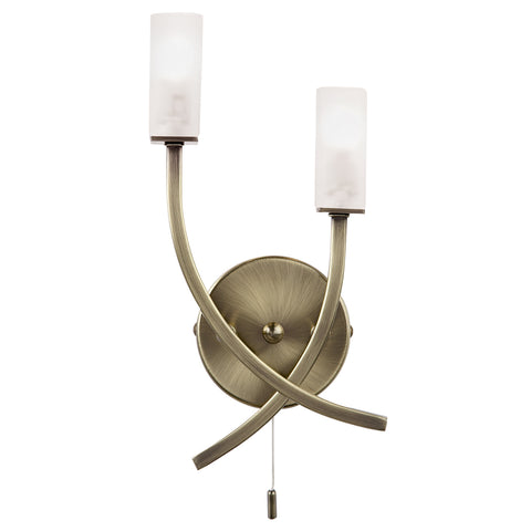 Endon Lighting 146-2AB Havana 2 Light Switched Wall Light Antique Brass Finish