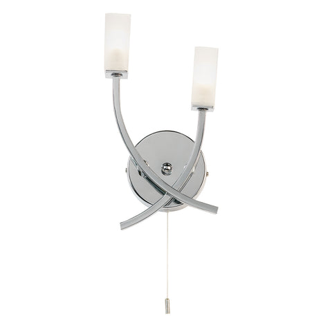 Endon Lighting 146-2CH Havana 2 Light Switched Wall Light Chrome Finish