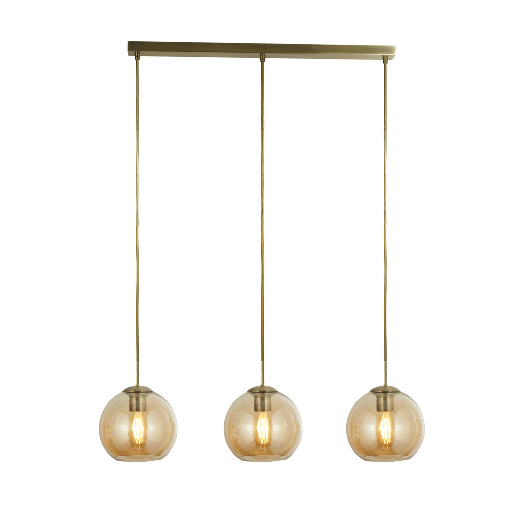 Searchlight 1623-3AM Pendant 3 Light Linear Pendant Ceiling Light Antique Brass Finish