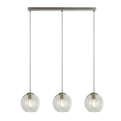 Searchlight 1623-3CL Pendant 3 Light Linear Pendant Ceiling Light Satin Silver Finish