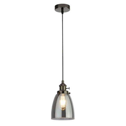 Searchlight 1921-1BC Pendant Island Single Light Pendant Ceiling Light Black Chrome Finish