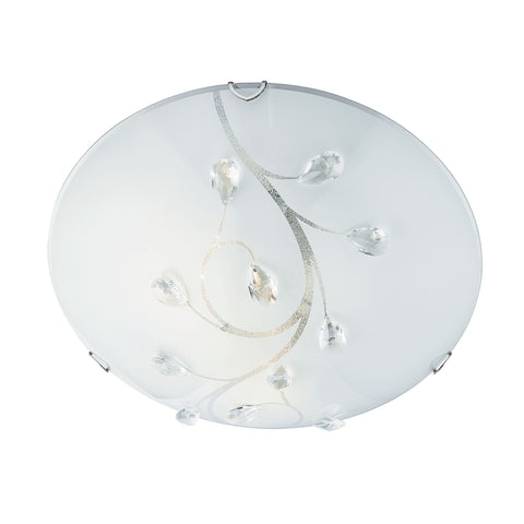 Searchlight 2140-30 Single Light (30cm Dia) Flush Ceiling Light Frosted Patterned Glass