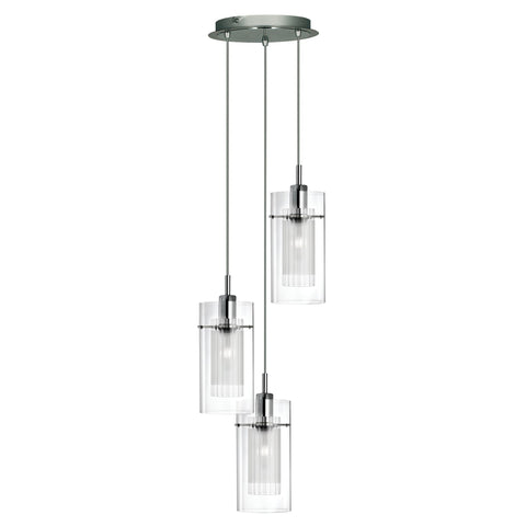 Searchlight 2300-3 Duo 1 3 Light Pendant Ceiling Light Chrome Finish
