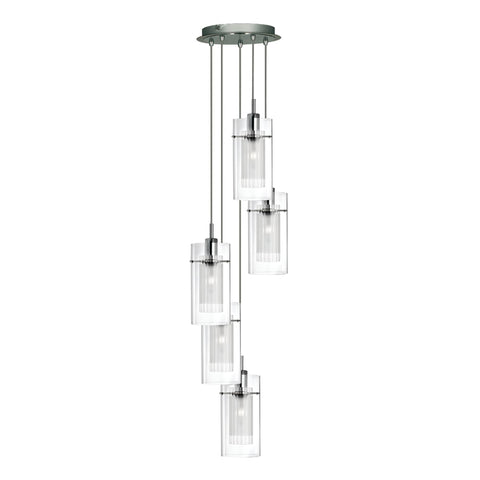 Searchlight 2305-5 Duo 1 5 Light Pendant Ceiling Light Chrome Finish