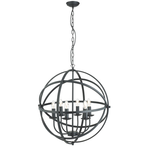 Searchlight 2476-6BK Orbit 6 Light Pendant Ceiling Light Matt Black Finish