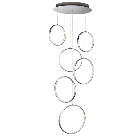 Searchlight 3166-6CC Rings 6 Light Chrome Pendant Ceiling Light