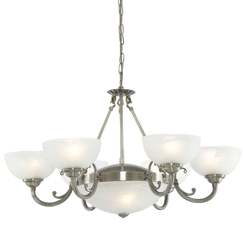 Searchlight 3778-8AB Windsor 8 Light Chandelier Antique Brass Finish