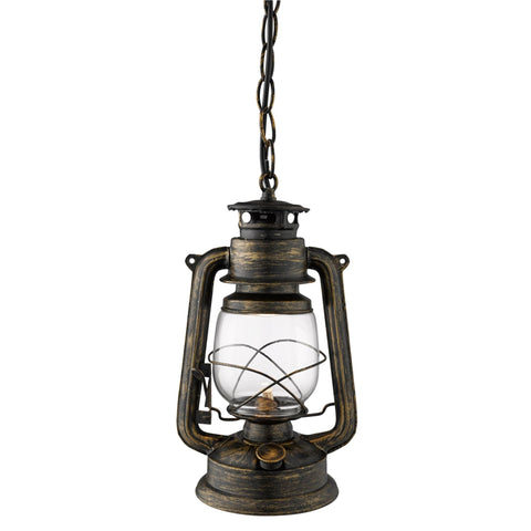 Searchlight 3841-1BG Hurricane 1 Light Pendant Ceiling Light Black Gold Finish