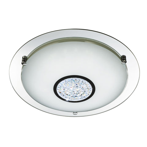 Searchlight 3883-41 LED Chrome and Mirrored Glass Flush Ceiling Light IP44