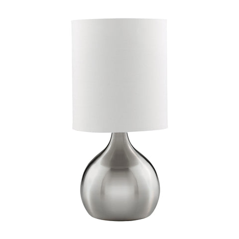 Searchlight 3923SS Circular Base Satin Silver Touch Activated Table Lamp