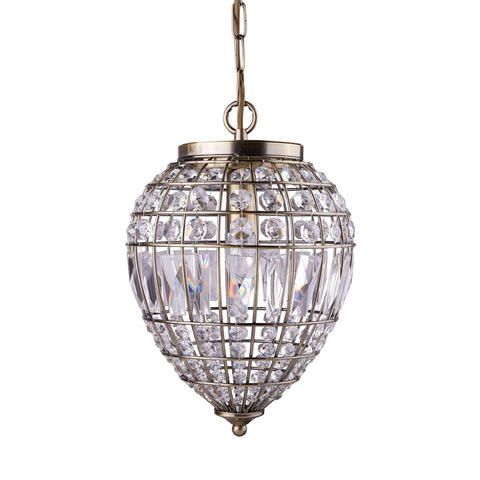 Searchlight 3991AB Pineapple Single Light Pendant Ceiling Light Antique Brass Finish