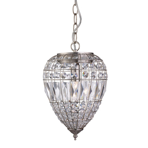 Searchlight 3991SS Pineapple Single Light Pendant Ceiling Light Satin Silver Finish