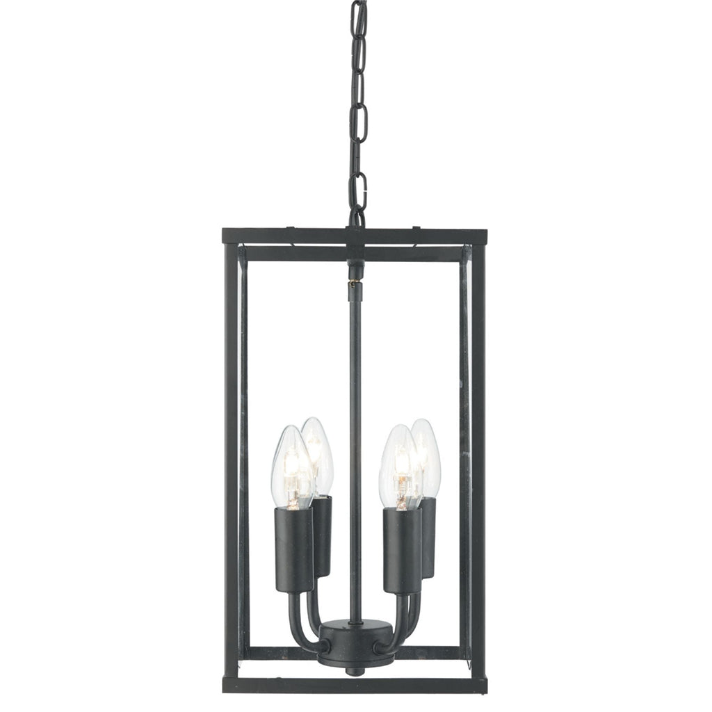 Searchlight 4244BK Voyager 4 Light Pendant Ceiling Light Matt Black Finish