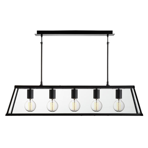 Searchlight 4614-5BK Voyager 5 Light Pendant Ceiling Light Black Finish