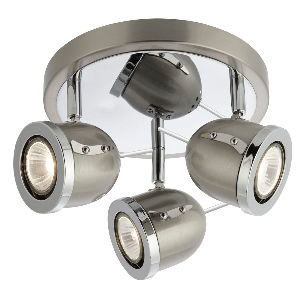 Searchlight 4923SS Palmer 3 Light Chrome And Satin Silver Spotlight
