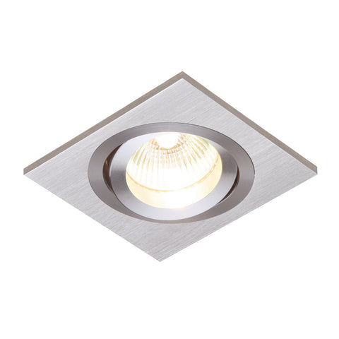 Saxby Lighting 52403 Tetra Single Recessed Downlight Brushed Silver Finish