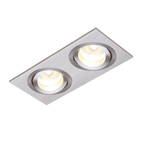 Saxby Lighting 52403 Tetra Twin Recessed Downlight Brushed Silver Finish