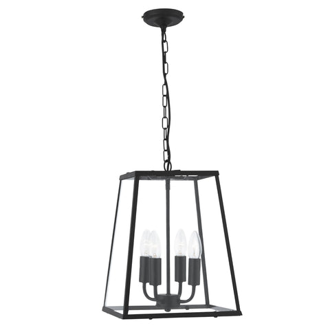 Searchlight 5614BK Voyager 4 Light Pendant Ceiling Light Matt Black Finish