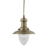 Searchlight 5787AB Fisherman Single Light Antique Brass Pendant