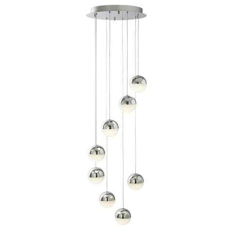 Searchlight 5848-8CC Marbles 8 Light LED Pendant Ceiling Light Chrome Finish