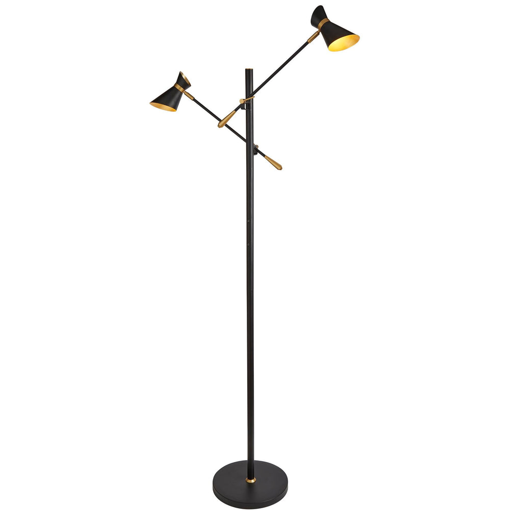 Searchlight 5962-2BG Diablo 2 Light Matt Black And Gold LED Floor Lamp