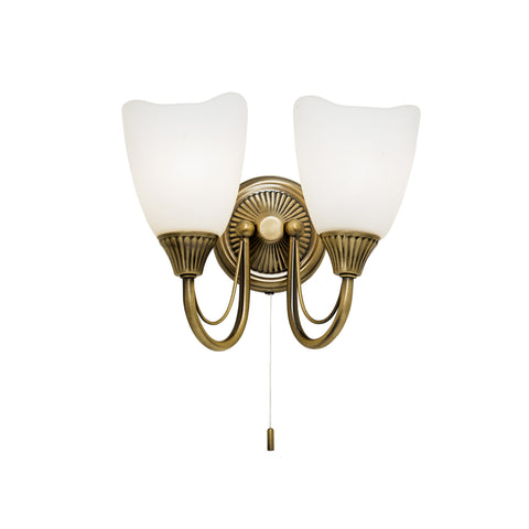 Endon Lighting 601-2AN Haughton 2 Light Switched Wall Light Antique Brass Finish