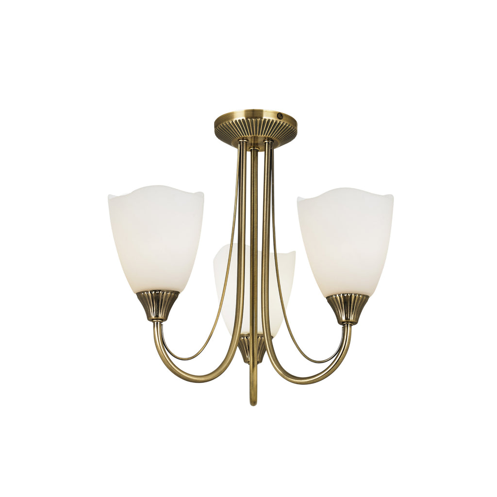 Endon Lighting 601-3AN Haughton 3 Light Semi-Flush Ceiling Light Antique Brass Finish