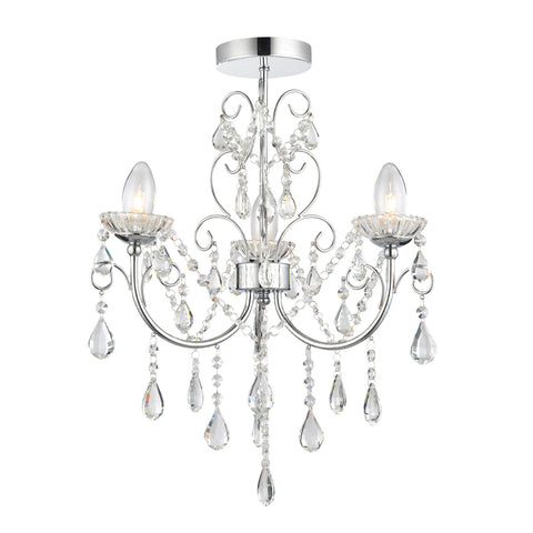 Endon Lighting 61251 Tabitha 3 Light Polished Chrome & Crystal Semi-Flush Ceiling Light