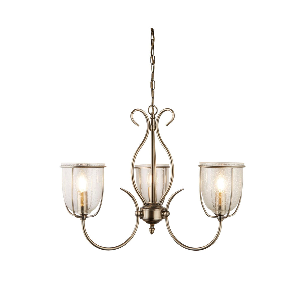 Searchlight 6353-3AB Silhouette 3 Light Chandelier Antique Brass Finish