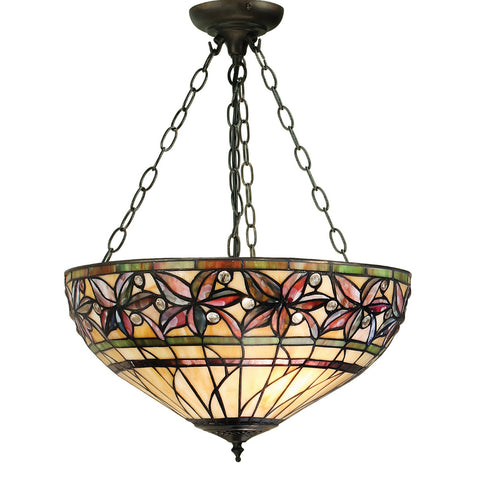 Ashtead Medium Inverted 3 Light Tiffany Pendant Ceiling Light