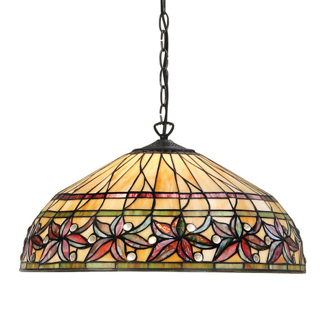 Ashtead Large 3 Light Tiffany Pendant Ceiling Light