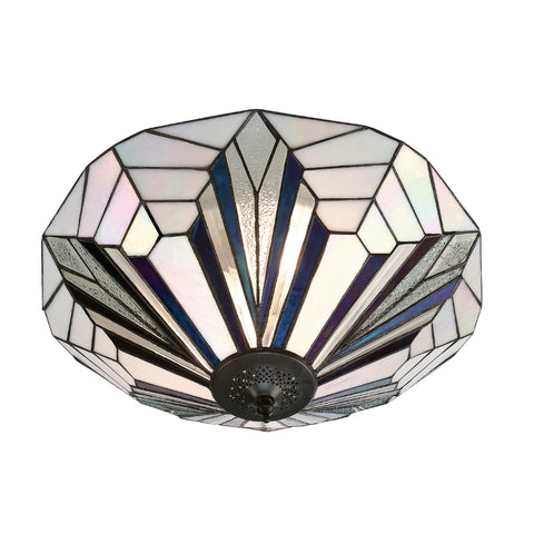Astoria Large 2 Light Tiffany Flush Ceiling Light