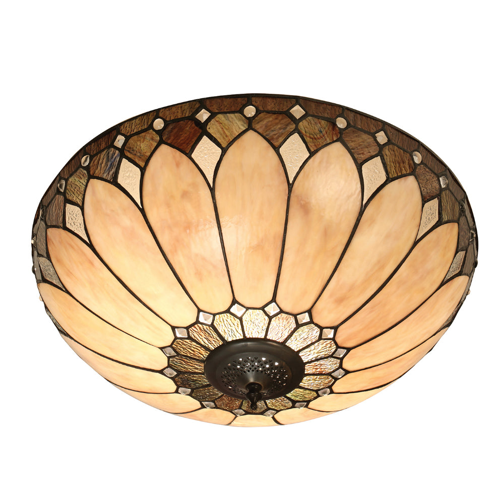 Brooklyn Large 2 Light Tiffany Flush Ceiling Light