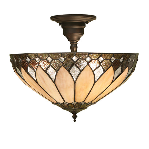 Brooklyn Medium 3 Light Tiffany Semi-Flush Ceiling Light