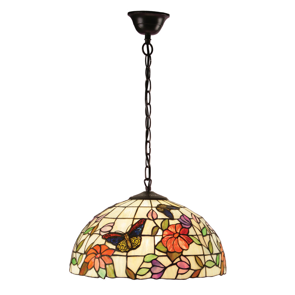 Butterfly Medium Single Light Tiffany Pendant Ceiling Light