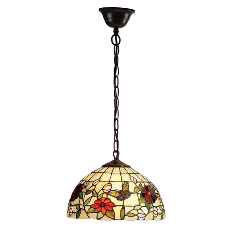 Butterfly Small Single Light Tiffany Pendant Ceiling Light