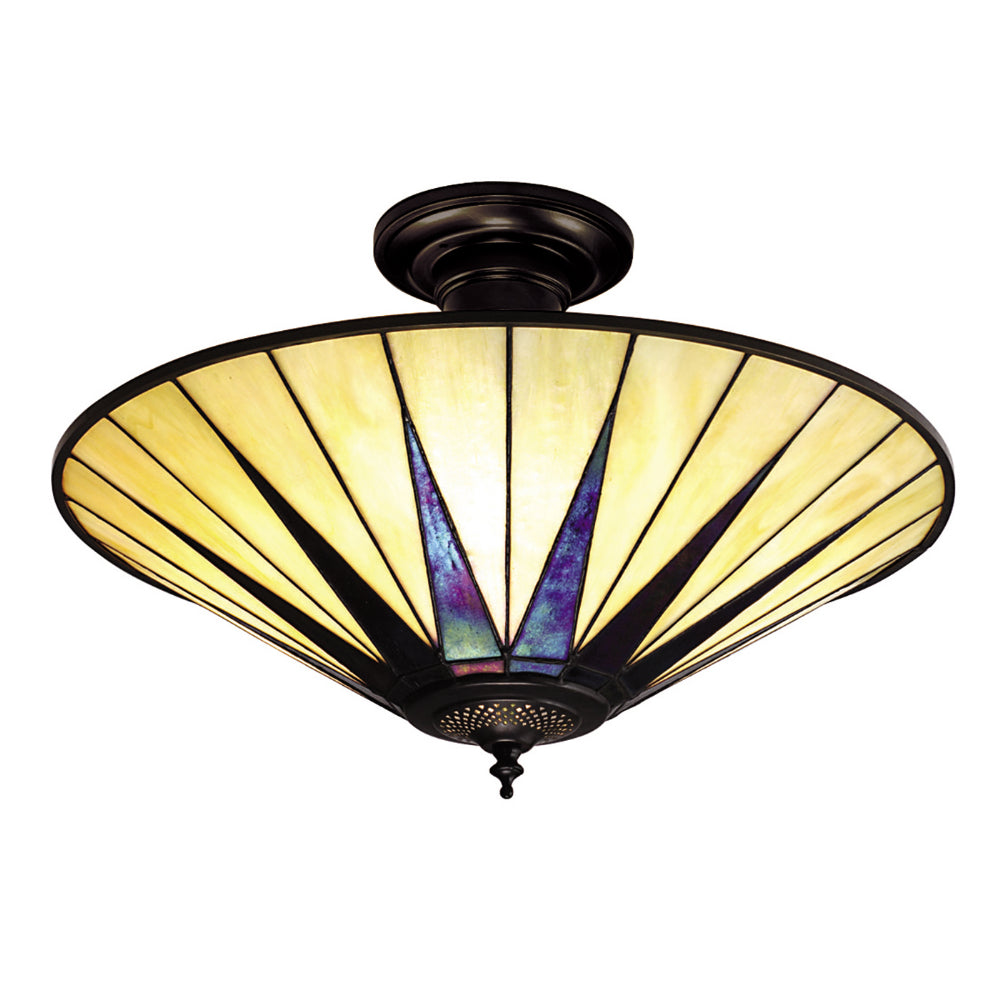 Dark Star Large 3 Light Tiffany Semi-Flush Ceiling Light
