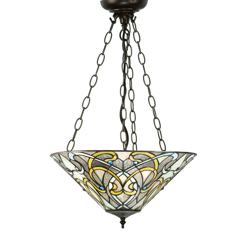 Dauphine Medium Inverted 3 Light Tiffany Pendant Ceiling Light