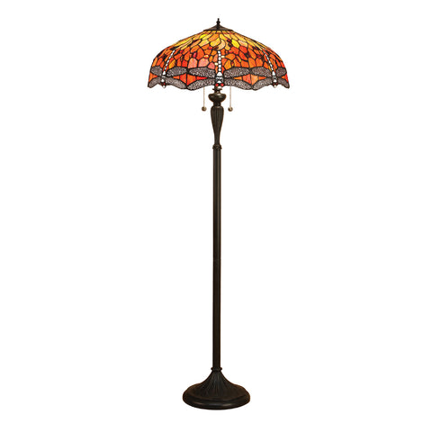 Dragonfly Flame Tiffany Floor Lamp
