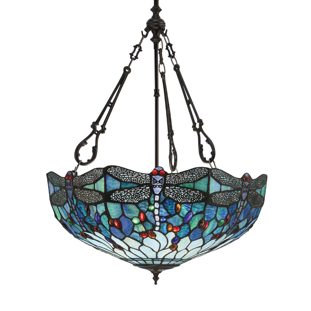 Dragonfly Blue Large Inverted 3 Light Tiffany Pendant Ceiling Light