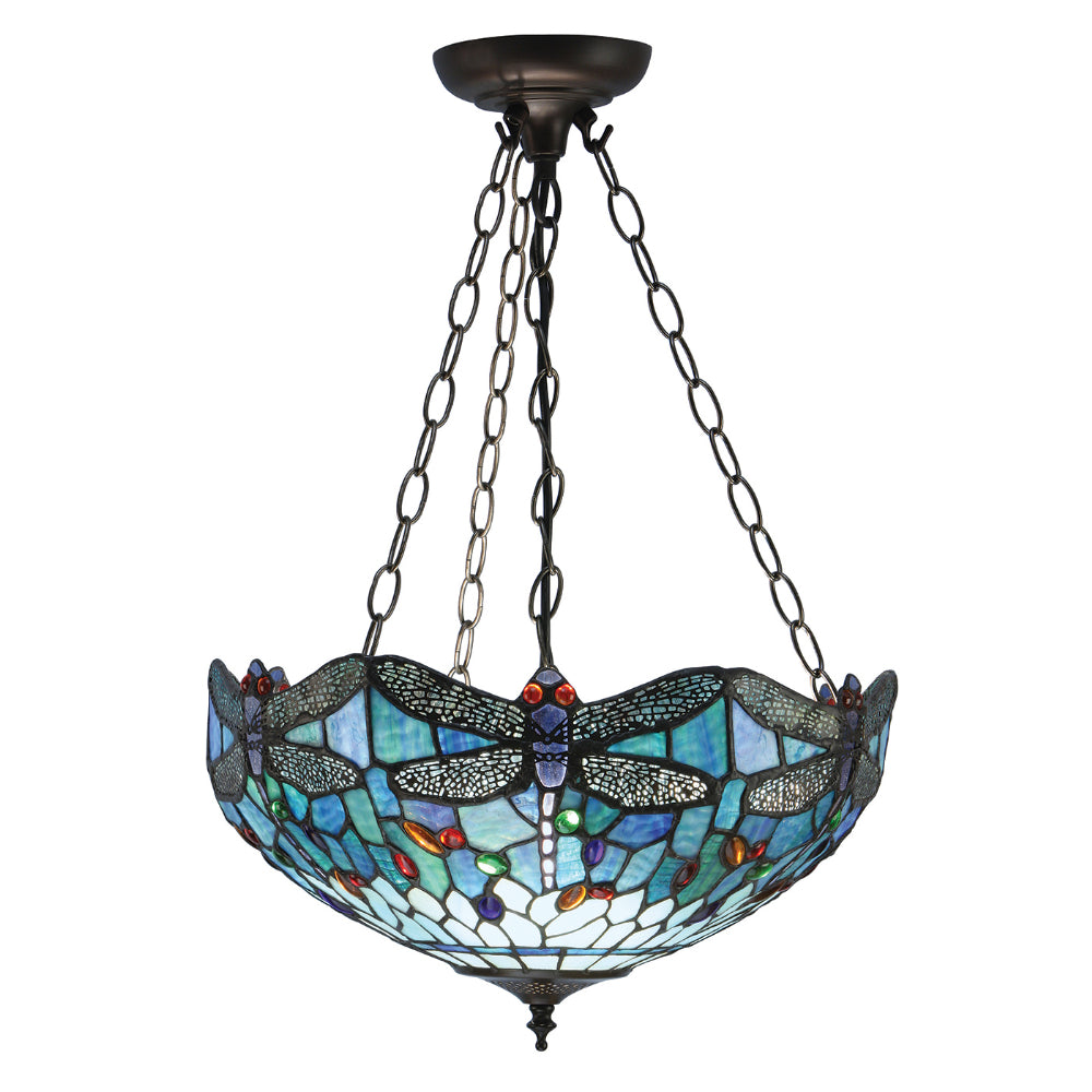 Dragonfly Blue Medium Inverted 3 Light Tiffany Pendant Ceiling Light