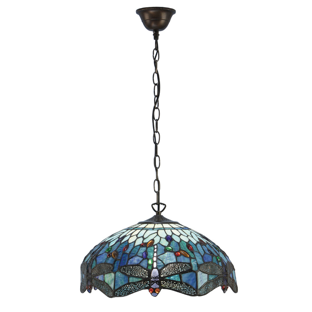 Dragonfly Blue Medium 3 Light Tiffany Pendant Ceiling Light