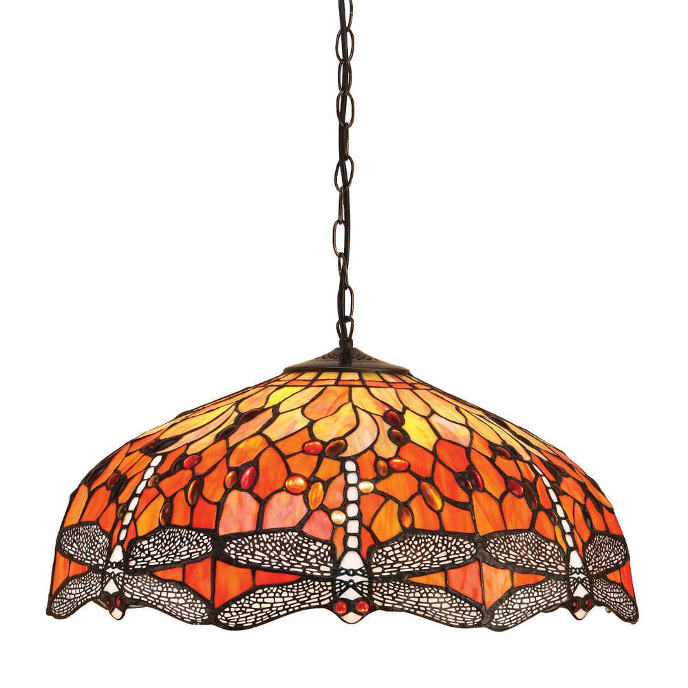 Dragonfly Flame Large 3 Light Tiffany Pendant Ceiling Light