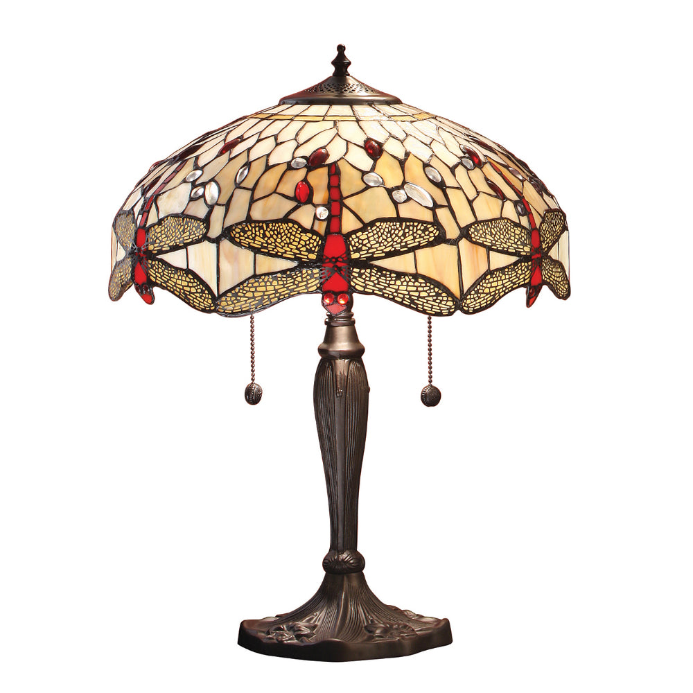 Dragonfly Beige Medium Tiffany Table Lamp