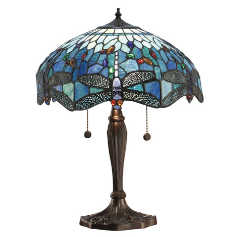 Dragonfly Blue Medium Tiffany Table Lamp