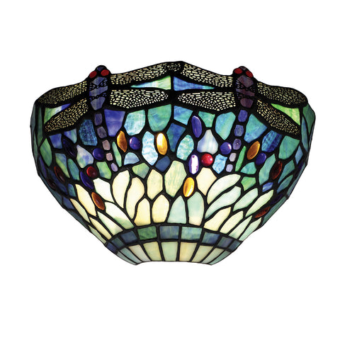 Dragonfly Blue Single Light Tiffany Wall Light