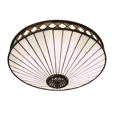 Fargo Medium 2 Light Tiffany Flush Ceiling Light