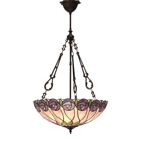 Hutchinson Large Inverted 3 Light Tiffany Pendant Ceiling Light