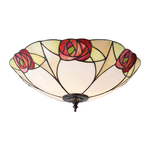 Ingram Large 2 Light Tiffany Flush Ceiling Light